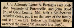 clipping - cross-burning influenced by film Mississippi Burning
