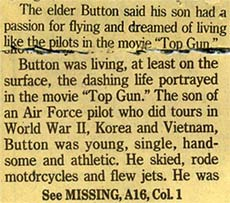 clipping - pilot influenced by film Top Gun